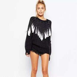 Wholesale Knit Fringed - Wholesale-2016 Black White Tassel Knitted Jumper Pullovers New Women Autumn Wave Fringed kleding mujer pull femme Sweaters Knitwear
