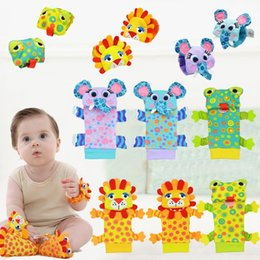 Wholesale Infant Foot Straps - Soft Baby Cartoon Wrist Strap Socks Boys Girls Toy Baby Rattle Animal Foot Finder Socks Cute Plush Sock for Infant Baby