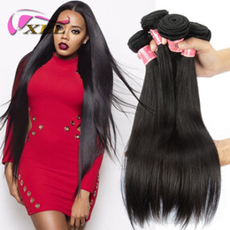 Wholesale Double Malaysian Human Hair Weave - XBL Silky Straight Human Hair Weaves Virgin Hair Brazilian Human Hair Bundles 3 4 Pieces One Set