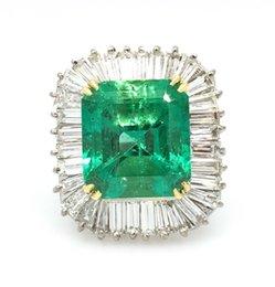 Wholesale Gold Ballerina - GIA 10.80ct Colombian Emerald & Diamond Ballerina Ring 18k White Gold - HM1438