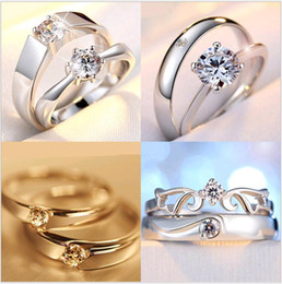 Wholesale Halo Cheap - Mix 925 Sterling Silver Couple Rings Heart Shaped Adjustable Halo Diamond Cubic Zircon Engagement Wedding Band Ring Set Wholesalers Cheap