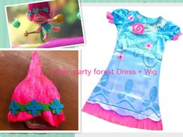 Wholesale Satin Poppy Flowers - 2017 New Arrival Trolls Party Forest Poppy Dress Baby Girl Cosplay Blue Dress Size 110-150 + Wig With Flower Headband In Stock