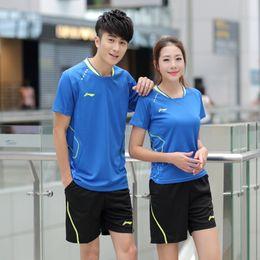 Wholesale Quick Shipping Dress - New badminton   tennis suit summer men's   women's badminton dress shirt race training suit breathable quick dry free shipping