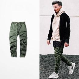 Wholesale Men Harem Pants Zippers - Wholesale- kanye west hip hop clothing men joggers jumpsuit chino  Green side zipper harem justin bieber pants