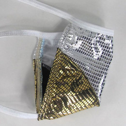Mens corda Thong G-string bolsa Low Rise sexy brilhante ouro / prata malogrado G645K pequena bolsa de roupa interior supplier small g strings de Fornecedores de pequenas cordas g