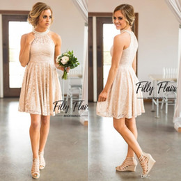 Wholesale Juniors Silver Homecoming Dresses - 2017 Nude Blush Keyhole Neck A Line Full Lace Country Bridesmaid Dresses Knee Length Crystal Homecoming Gowns Beach Cheap Party Dress