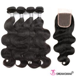 Wholesale Dyeable Human Weaving Hair - Brazilian Hair Weaves Body Wave With Lace Closure 4 Bundles With Lace Closure 8A Brazilian Body Wave Human Hair Wefts Natural Color Dyeable
