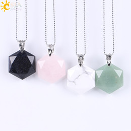 Wholesale Natural Faceted Amethyst - CSJA Natural Stone Pendant Necklace Faceted Charms Jewelry Hollow Ethnic Buckle Drop Pendant Statement Necklaces All-match Jewellery E643 B