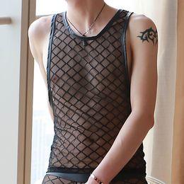 Wholesale Performance Tank - Sexy Black Plaid Fishnet Mens Tank Tops Mesh Gay bar Performance shirt Fitness Mesh transparent undershirts see through