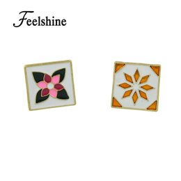 Wholesale Square Brooch - Feelshine 2017 New Enamel Square Gold-Color Brooch With Colorful Flower Pattern Fashion Accessories Costume Jewelry For Women