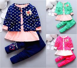 Wholesale Baby Suit Pant Dress - Wholesale- 2016 summer spring round dot baby girl suit clothes coat+Dress+pant 3 pcs infant girl clothing set kids clothes Minnie suit