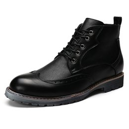 Wholesale Handsome Plaid - Big Size 36-48 Winter Men Boots Top Quality Handsome Comfortable Brand Comfortable Brand Casual Shoes Genuine Leather Boots 8955