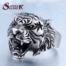 Wholesale Tiger Ring For Men - Wholesale- steel soldier punk personality tiger ring for men stainless steel good detail animal jewelry for men