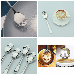 Wholesale Spoons Desserts Stainless - Sugar Skull Tea Spoon Suck Stainless Coffee Spoons Dessert Spoon Ice Cream Tableware Colher Kitchen Accessories YYA266
