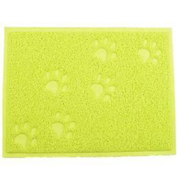 Tableaux de table en Ligne-Rectangle Sleeping Pad chat litière pour chien chien chiot nettoyage alimentation bol table tapis PVC lavable standard