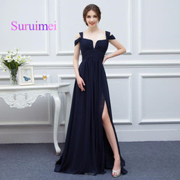 Wholesale Double Side Black Color - Dress Vintage Black Color Long Prom Dresses Double Straps Chiffon Side Split Gowns Evening Zipper Design Back Fast Shipping
