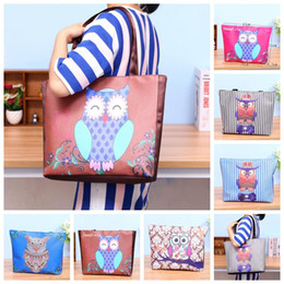 Wholesale Clothes Shopping Cartoon - Large Capacity Cartoon Owl Handbag Women Shoulder Bag Waterproof Folding Shopping Bags Beach Storage Handbags For Home Outdoor Fashion 9wy R