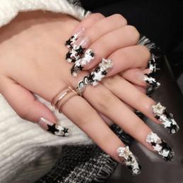 Wholesale Fingernails Art - 24pcs Pre Design Fake Nails French False Nails Beautiful Nail Tips For Nail Art Fashion Fingernail Arfificial False Nail Full Cover Full Nai