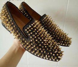 scarpe da uomo in oro nero Sconti Scarpe da passeggio fatte a mano con passamaneria Shinning da uomo, scarpe con punta nera, mocassini glitter oro, scarpe in pelle scamosciata, rivetti, scarpe da sera