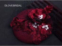 Wholesale Decoration Church - Burgundy Red Floral Bridal Hat with Black Face Veil Garden Wedding Hair Accessory Bride Mother Special Occasion Party Decoration Photo Hats