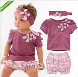 Wholesale Cheap Girls Clothing Sets - Wholesale- Infant Clothing Cheap Conjunto Infantil Menina Brands Cute Newborn Baby Girl Clothes New Born Summer Purple Suit 3pcs Cotton Set
