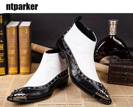 Wholesale Italy Boots Men - Western Rock Black white Ankle man boots ITALY TYPE increased height pointed high-top Man Leather boots EU38-46!
