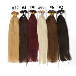 Punta de palo de extensión de cabello de fusión online-100 g / paquete U Extremidad de cabello Uñas Prebonded Fusion Pelo recto 100 líneas / paquete Keratina Stick Cabello humano brasileño # 18 # 10 # 8 # 1B # 613