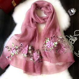Wholesale Embroidery Silk Scarves - Wholesale- Silk embroidery scarf new ladies dimensional embroidery peony flowers sunscreen air - conditioning shawl scarf