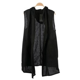 Wholesale Hood Material - Wholesale- Knitted Hood Woven Material Extended Men's Tank Top Front Long Back Short Hi-end Fashion Top Men 2017 Summer