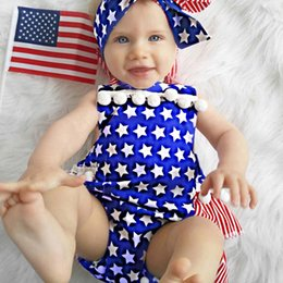 Wholesale Flag Romper - Summer Ins hot Toddler Baby stars Rompers Romper Infants America flag Jumpsuit Baby bobbles tassels rompers Jumpsuits