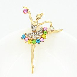 Wholesale Clothes For Girl China - Gold Plated Alloy Fantastic Beautiful Ballet Girl Brooch Amazing Clothes Pin For Women Multiful Crystals Lady Party Pin