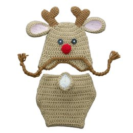 Wholesale Reindeer Christmas Costume - Crochet Baby Reindeer Costume,Handmade Knit Baby Boy Girl Rudolph Red Nose Moose Hat Diaper Cover Set,Infant Toddler Christmas Photo Prop