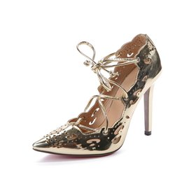Wholesale Gold Dresses United States - 2017 New Europe and the United States High heel Sexy Hollow Straps High heels Women's shoes