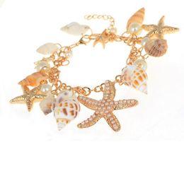 Wholesale Sea Pearl Jewelry Set - 30PCS charm Bangle bracelets jewelry Pretty Lady Metal bracelets for women sea shell chain & link pearl bracelet F292