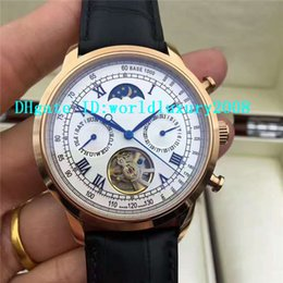 Wholesale Luxury Moonphase - Luxury Brand 18K Rose Gold Grand Complications Moonphase Tourbillon Automatic Mens Wristwatch White Dial Brown Black Alligator Leather strap