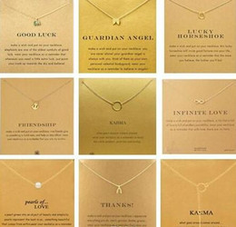 Wholesale Wishbone Necklaces - With card! Very cute! Dogear Necklace with different pendant, elephant wishbone karma angel wing, free shipping and high quality 60pcs
