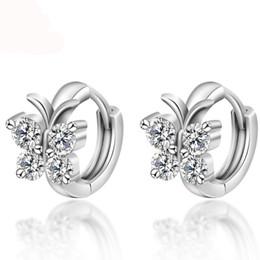 Mode 925 Sterling Argent De Luxe Cristal Boucles D'oreilles Papillon Conception Boucle D'oreille Pour Les Femmes Fille Oreille Bijoux Cadeau ? partir de fabricateur