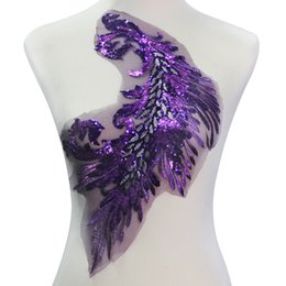 Wholesale Wedding Lace Motifs - 1piece Purple Beaded Sequin Lace Embroidery Applique Patches Bridal Wedding Dress Lace Cord Motif Sewing Accessories T2143