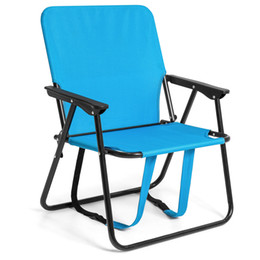 """Wholesale Camping Beach Chair - BCP 12"""" Height Seat Backpack Folding Chair Outdoor Beach Camping -Blue"""