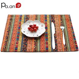 Wholesale Chinese Cotton Padded - Wholesale- Chinese folk style cotton linen table mats 32x45cm red stripe printed caps table covers pads home decoration high quality