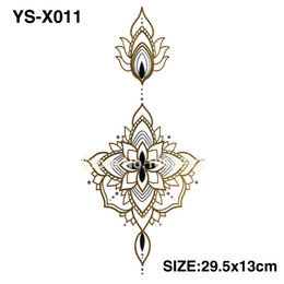 Wholesale Big Flower Tattoos - Wholesale-YS-X011 GOLD DIY Chest Flowers BIG Tattoo Stickers Colorful Hot Flashes Waterproof Tatoo Body Art Temporary TATTOO Sticker