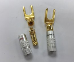 Wholesale Spade Speaker - 20pcs High quality Nakamichi Y U Type Brass Speaker Plugs Audio Screw Fork Spade Connector