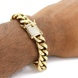 Wholesale Gold Filled Mens Bracelet - 14mm Mens Hip hop Cuban Miami Link Bracelet Rhinestone CZ Clasp Iced Out Gold Silver Stainless Steel Chain Bracelet 21CM
