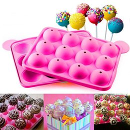 Wholesale 12 Hole Chocolate Silicone - 12 Holes Mould Silicone Round Shape Party Moulds Cake Cookie Candy Chocolate Maker Baking Tool Tray Lollipop Pop
