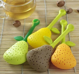 Wholesale Wholesale Enamel Leafs - New Silicone Cute Pear With Leaf Tea Leaf Strainer Herbal Spice Tea Infuser Filter Partner High Temperature Resistant 2mn J R