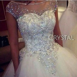 Wholesale Sheer Rhinestone Dresses - 2017 Gorgeous Dazzling Chapel Train Princess Wedding Dresses Sheer Neck Real Image Luxurious Rhinestones Crystal Church Bridal Gowns Cheap