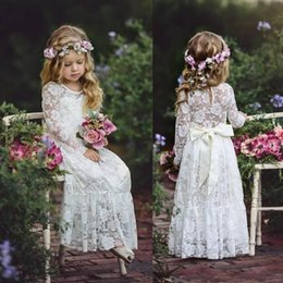 Wholesale Illusion Neckline Communion - Lace Boho Flower Girls Dresses For Weddings Cheap Jewel Neckline Long Sleeves Applique Bow Sash Floor Length Free Shipping Dress For Girls