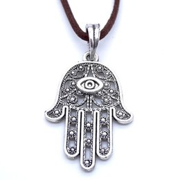 Wholesale Hamsa Necklace Charm - Sweater Necklace Leather Jewelry Punk Jewelry Vintage Necklace Hip Hop Rock Retro Celtic Style Hamsa Hand with Eyes Pendant M1024