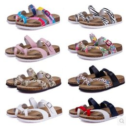 Wholesale Flat Ivory Sandals - 2017 New Summer Beach Cork Slipper Flip Flops Sandals Women Mixed Color Casual Slides Shoes Flat Free Shipping Plus SizeLarge size couples