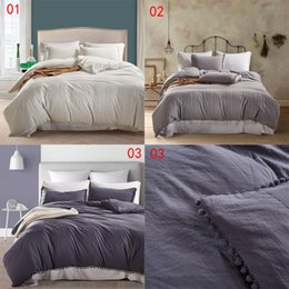 Wholesale Wholesale King Bedding Comforter Sets - Hot Sale Bedclothes Bedding Set Twin Queen King Size Polyester Duvet Cover Set Flat Sheet Pillowcase Solid Tassel Style